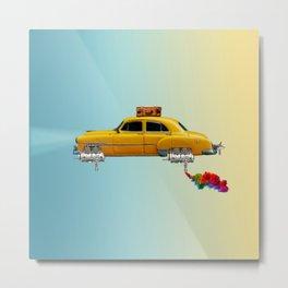 Yellow sci-fi car Metal Print