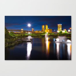 Tulsa Oklahoma City Park Skyline at Dawn Canvas Print