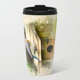 Watercolor Bluebird Art Travel Mug