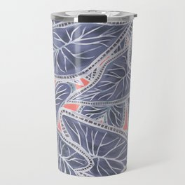 Tropical Caladium Leaves Pattern - Purple Gray Coral Travel Mug