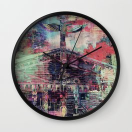 Totem Cabin Abstract - Multi Wall Clock