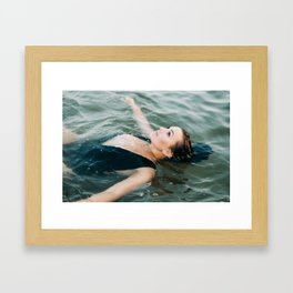 In the water | Ocean inspired portrait of a young woman Framed Art Print