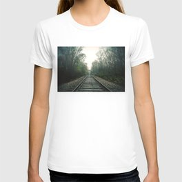 Creepy foggy railroad T-shirt