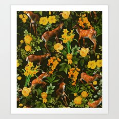 Deer and Floral Pattern Art Print