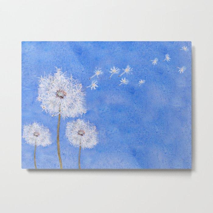 flying dandelion watercolor painting Metal Print