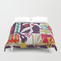 matisse Duvet Covers featuring Inspired to Matisse (violet) by Chicca Besso