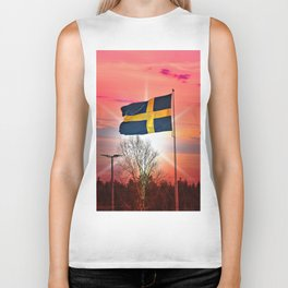 Swedish flags Biker Tank