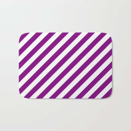 Diagonal Stripes (Purple/White) Bath Mat
