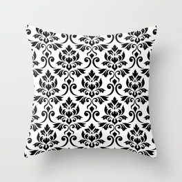 Feuille Damask Pattern Black on White Throw Pillow