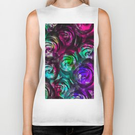 closeup rose texture pattern abstract background in red purple blue Biker Tank