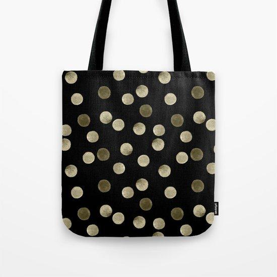 Watercolor . Olive green polka dots on black . Tote Bag