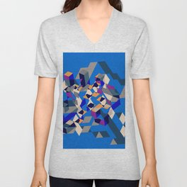 Blue collage Unisex V-Neck