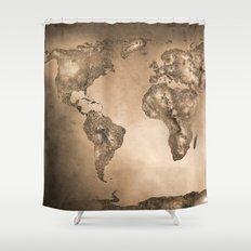 Stars world map. Sepia Shower Curtain