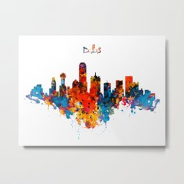 Dallas Watercolor Skyline Metal Print