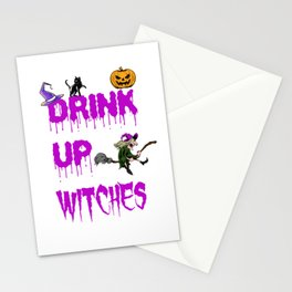 Drink Up Witches Halloween Wine Lover Costume Stationery Cards