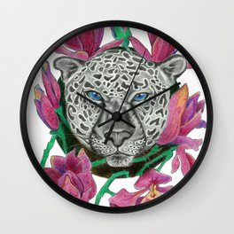 Snow panther hidden in magnolias Wall Clock