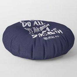 Philippians 4: 13 x Navy Floor Pillow