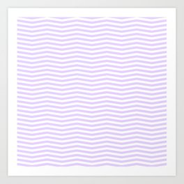 Chalky Pale Lilac Pastel and White Chevron Stripes Art Print