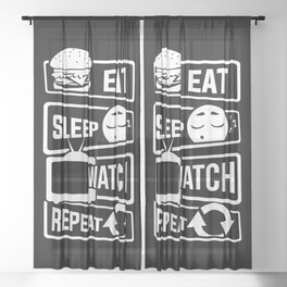 Eat Sleep Watch Repeat - TV Series Couch Binge Sheer Curtain