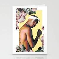 tupac Stationery Cards featuring Tupac Floral by POSH OUTSIDERS