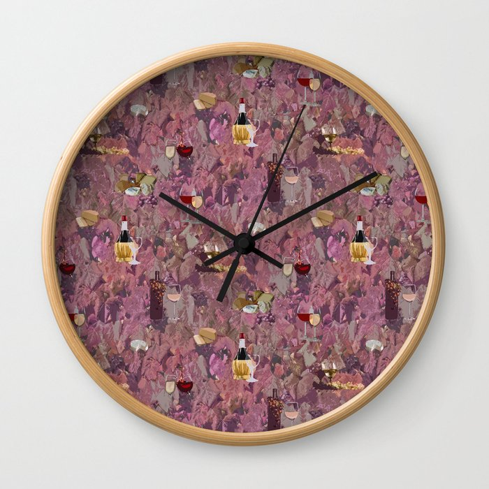 Wine and Cheese Pattern Print Wall Clock