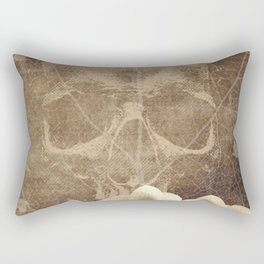 Skull Human Vintage Flowers Digital Collage Rectangular Pillow