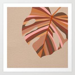 Monstera Leaf - Earthy,Terracotta & Pink Art Print