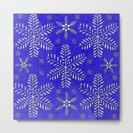 DP044-10 Silver snowflakes on blue Metal Print