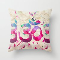 om Throw Pillows featuring OM by Pranatheory