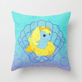 g1 my little pony baby sea pony Throw Pillow