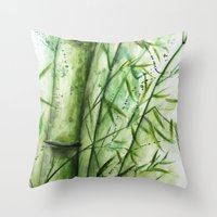 bamboo Throw Pillows featuring Bamboo by rchaem