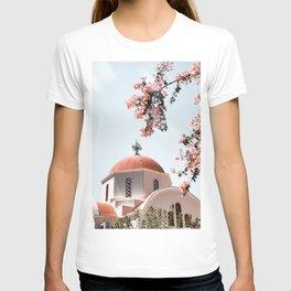 Greek White Church Art Print | Pink Flowers | Crete, Greece Photo | Travel Photography T-shirt