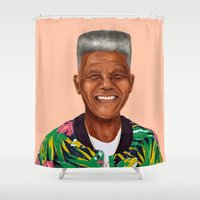 mandela Shower Curtains featuring Hipstory - Nelson Mandela by Amit Shimoni