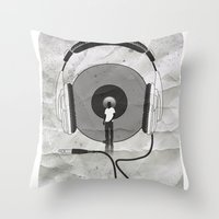 afro Throw Pillows featuring vinyl afro by Vin Zzep