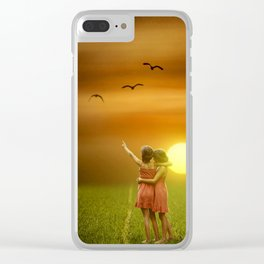 Girls Hugging At Sunset In A Field Clear iPhone Case