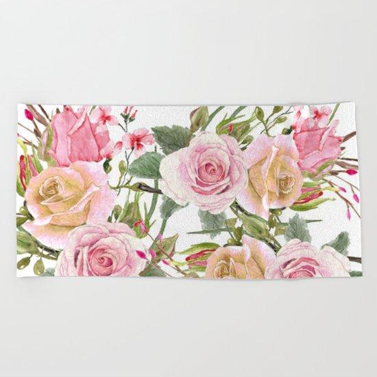 Watercolor Roses #1 Beach Towel