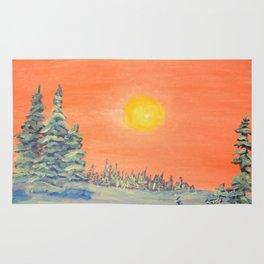 winter trees snow and sun . art Rug