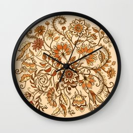 Jacobean Inspired Floral Doodle in Neutral Woodland Colors Wall Clock