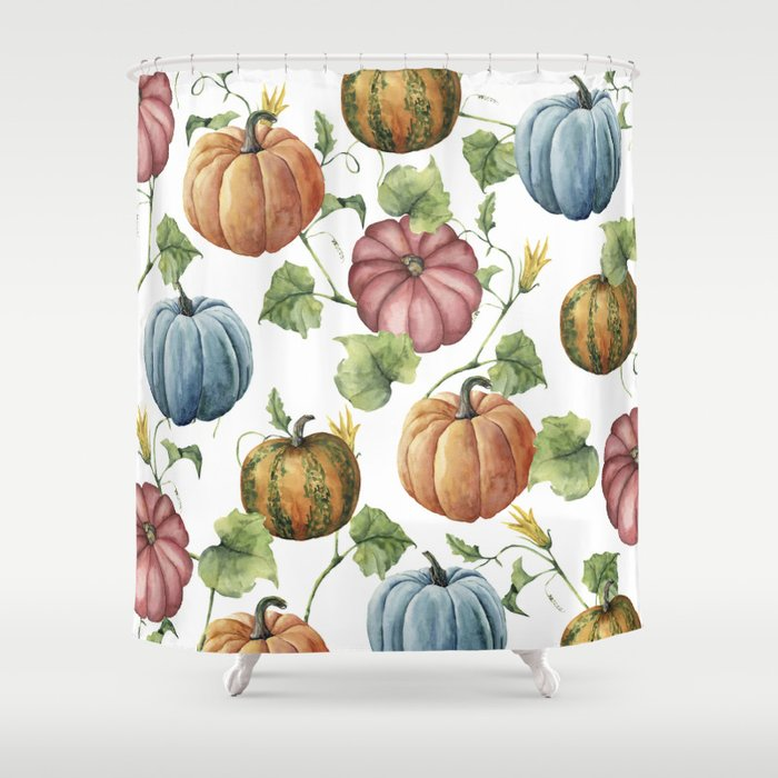 PUMPKINS WATERCOLOR Shower Curtain