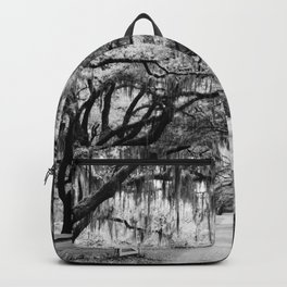 Spanish Moss on Southern Live Oak Trees black and white photograph / black and white art photography Backpack