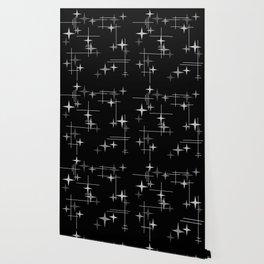 Mid Century Modern Stars (Black) Wallpaper