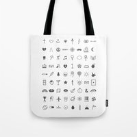 tattoos Tote Bags featuring Finger Tattoos by Alisha Jensen
