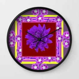 Amethyst Purple Dahlia Morning Glories Puce Color Abstract Wall Clock
