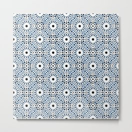 Moroccan Inspired Mandala V - Blue & white Abstract Impressionism Metal Print