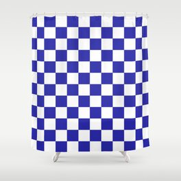 Checkered (Navy & White Pattern) Shower Curtain