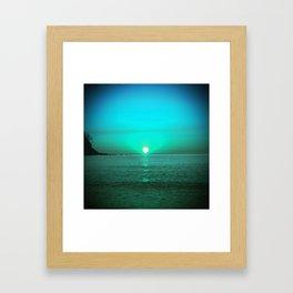 Cyan sunrise July morning at Irakli Bulgaria Framed Art Print