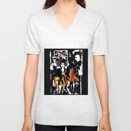Music fans alternative punk fashion illustration. Unisex V-Neck