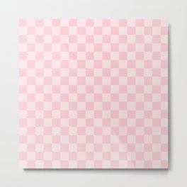 Large Light Millennial Pink Pastel Color Checkerboard Metal Print