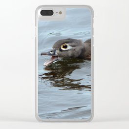 Annoyed wood duck Clear iPhone Case