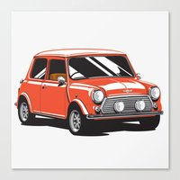 mini cooper Canvas Prints featuring Mini Cooper Car - Red by C Barrett